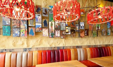 Undulated clay finish. Nando's restaurant in York. Courtesy of Nando's