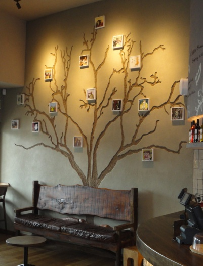 Carved clay tree finish, Nando's restaurant in Staines