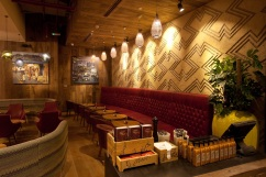 Carved clay wall, geometric pattern, Nando's restaurant in Abu Dhabi World Trade Centre, UAE