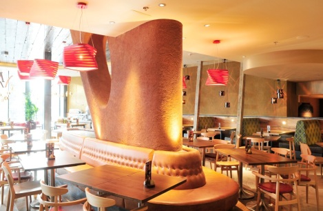 Rough clay finish, Nando's Bullring restaurant in Birmingham