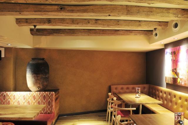 Rough clay finish, Nando's Bullring restaurant in Birmingham