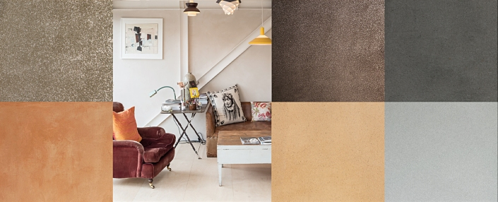 Clayworks' clay plaster finishes, textures and colours.