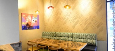 Anaglyptic clay textured wall, Nando's restaurant in Derry, Northern Ireland