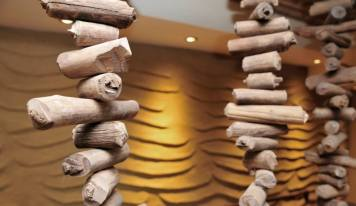 Undulated clay finish, Nando's restaurant in Dublin, Ireland