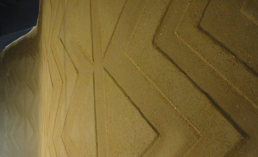 Anaglyptic clay textured wall, Nando's restaurant in Edinburgh