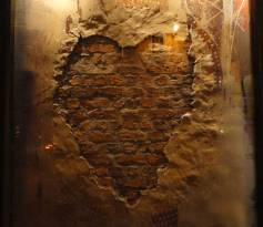 Carved heart clay wall image, Nando's restaurant in Glasgow
