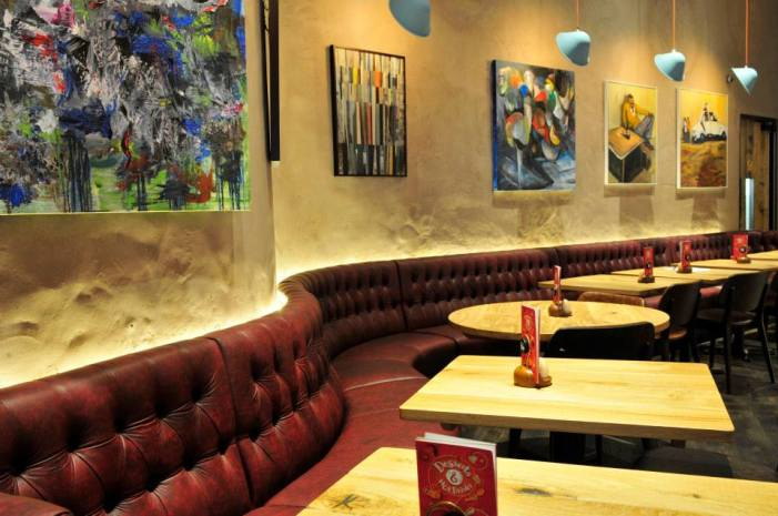 Undulated clay finish, Nando's restaurant in Harrow, London