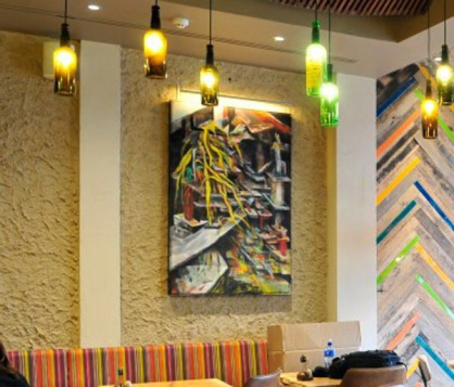 Rough and rustic textured clay finish, Nando's restaurant in Watford