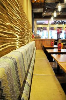 Wood and clay finish, Nando's restaurant in Wembley