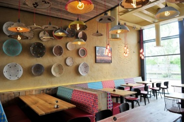 Handprint clay finish, Nando's restaurant in Leigh, Greater Manchester